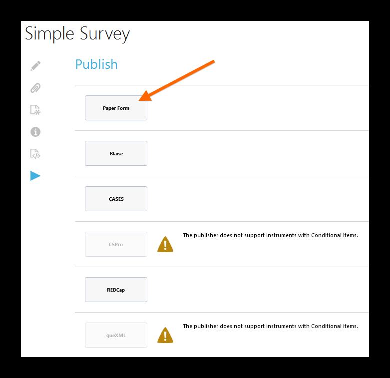generate a paper questionnaire colectica 5 4 documentation